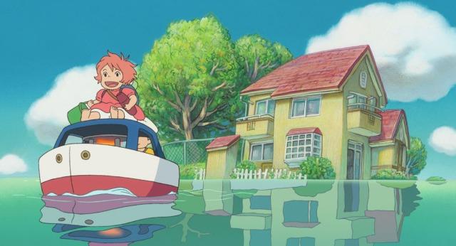 おもちゃの船に乗って探索に出発するポニョと宗介