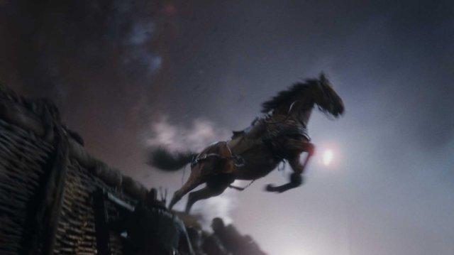 塹壕を飛び越えるCG馬