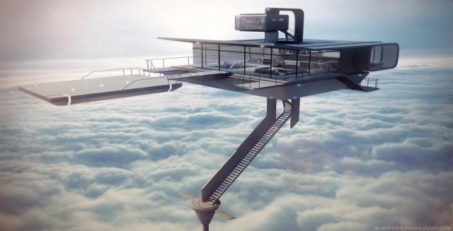 雲の上にそびえるタワー
