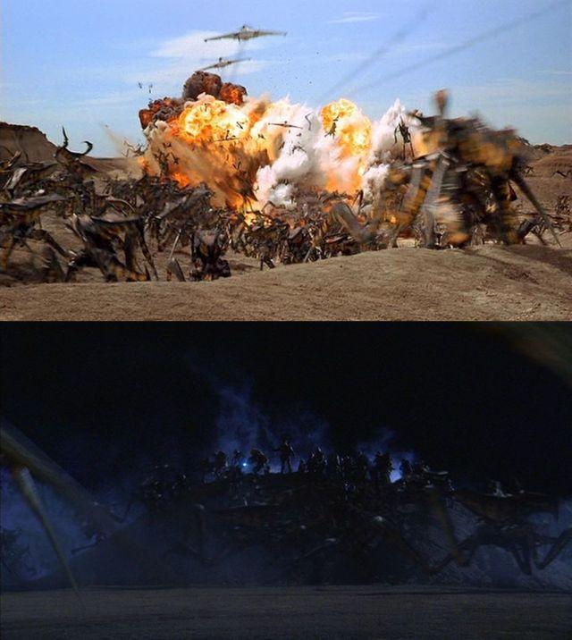戦争の理想(プロパガンダ)と現実 プロパガンダでは青空の元、敵を一網打尽に吹っ飛ばす爆撃機 一方現実では真っ暗闇で敵に囲まれての攻囲戦 最初の数分で映像だけで理想と現実の違いを目に焼き付ける