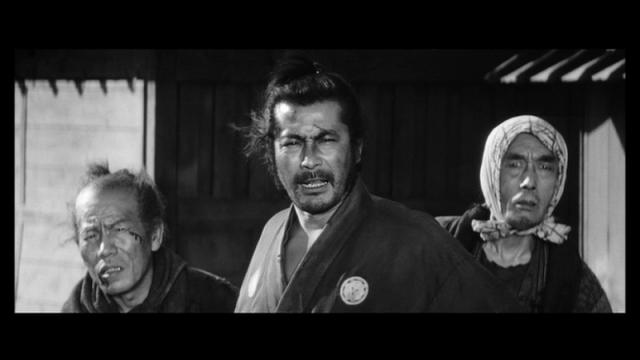 酒場の親父(東野英治郎)、三十郎、棺桶屋(渡辺篤)