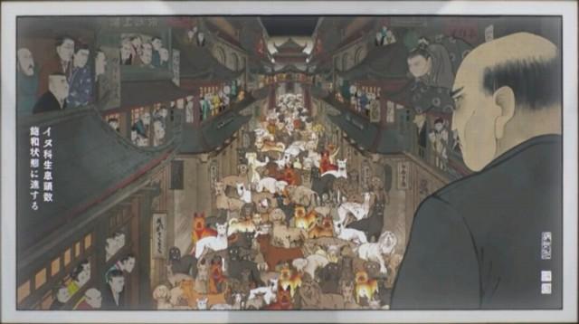 歴史部分はこういう浮世絵みたいな絵で表現される。